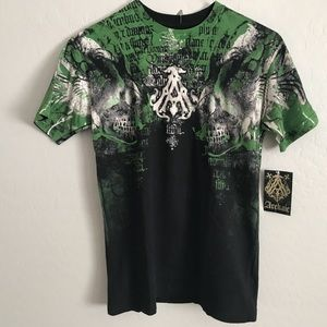Black Archaic t-shirt with green print